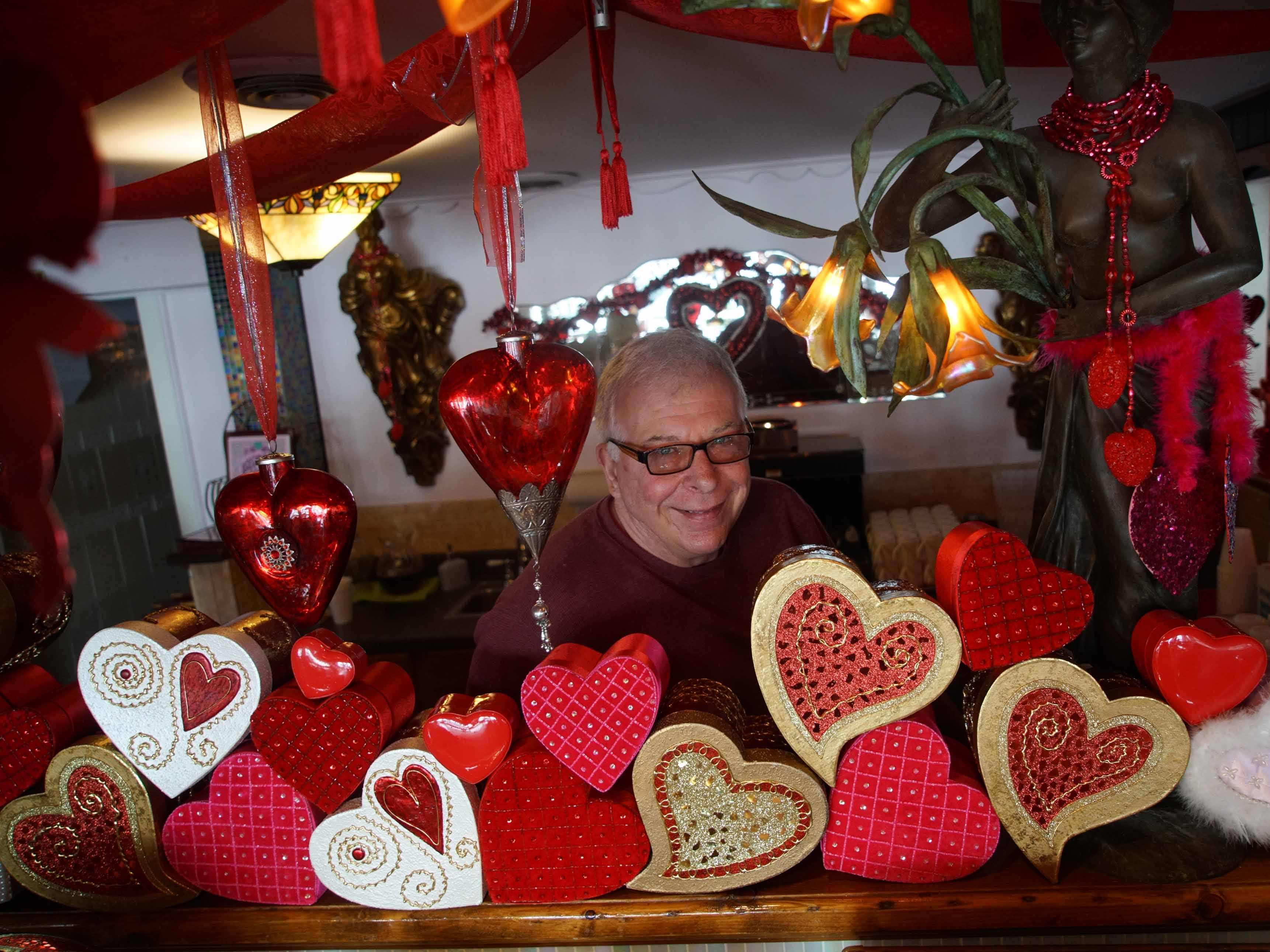 Owner Matt Rydzynski of Serendipity Restaurant decks out his Oak Orchard restaurant of 15 years for Valentine's Day. He starts slowly decorating in January for the romantic holiday to create an atmosphere for his customers to enjoy.