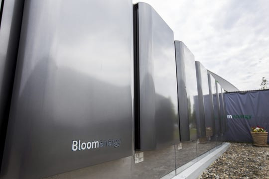 Energy servers sit outside of the Bloom Energy factory in Newark in July 2015.