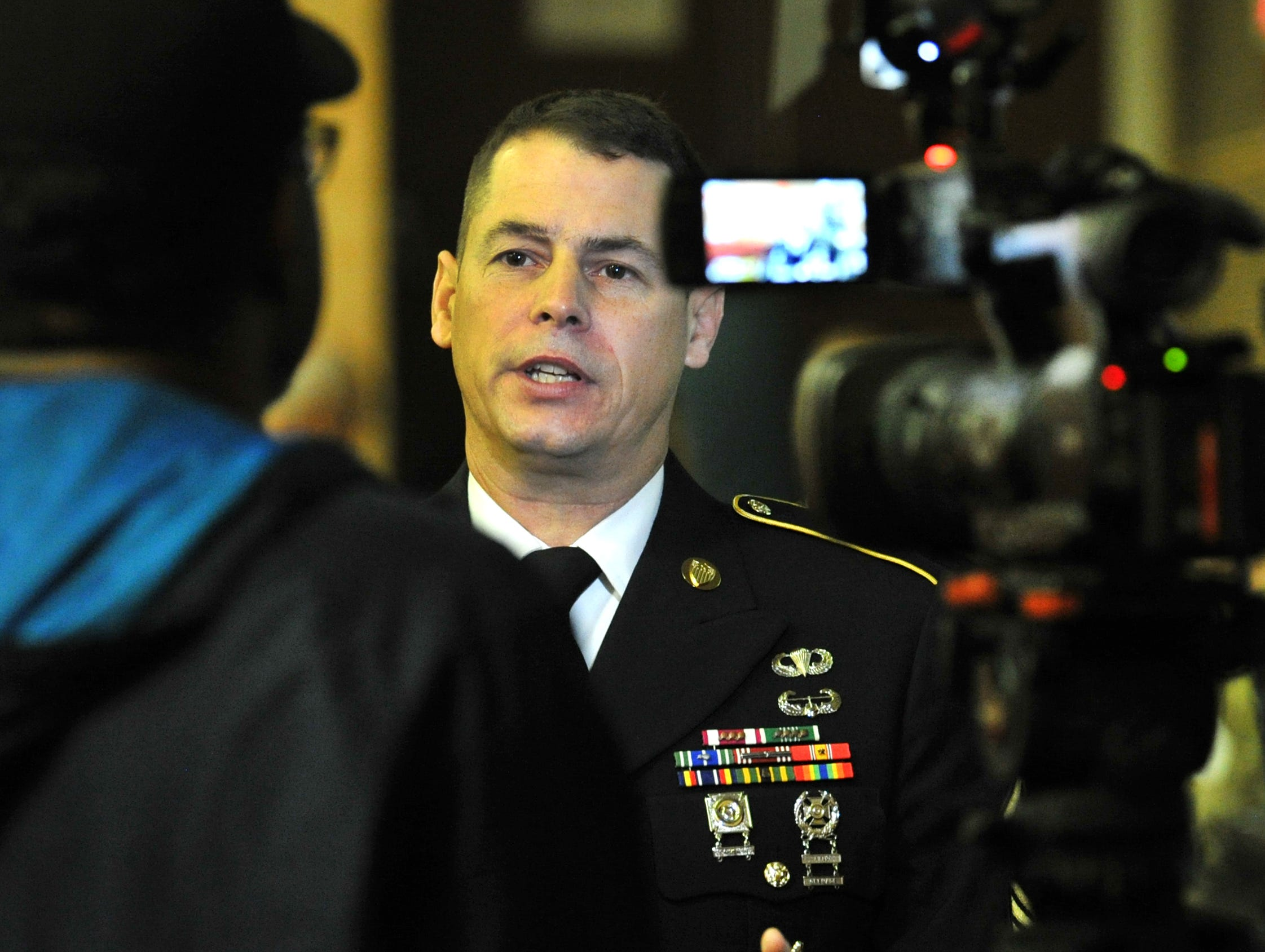 Command Sergeant Major, Steve Laick, a Hirschi High School graduate,  conducted media interviews after speaking to junior and senior students at Hirschi High School about their career choices after school.