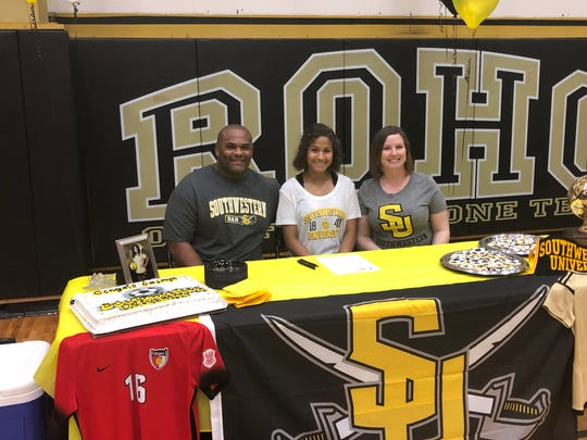 Rider's Jasmyn Montgomery signed Wesnesday to play soccer for Southwestern in Georgetown. Montgomery has been a standout midfielder for the Lady Raiders the past four years and was a first-team all-district selection.