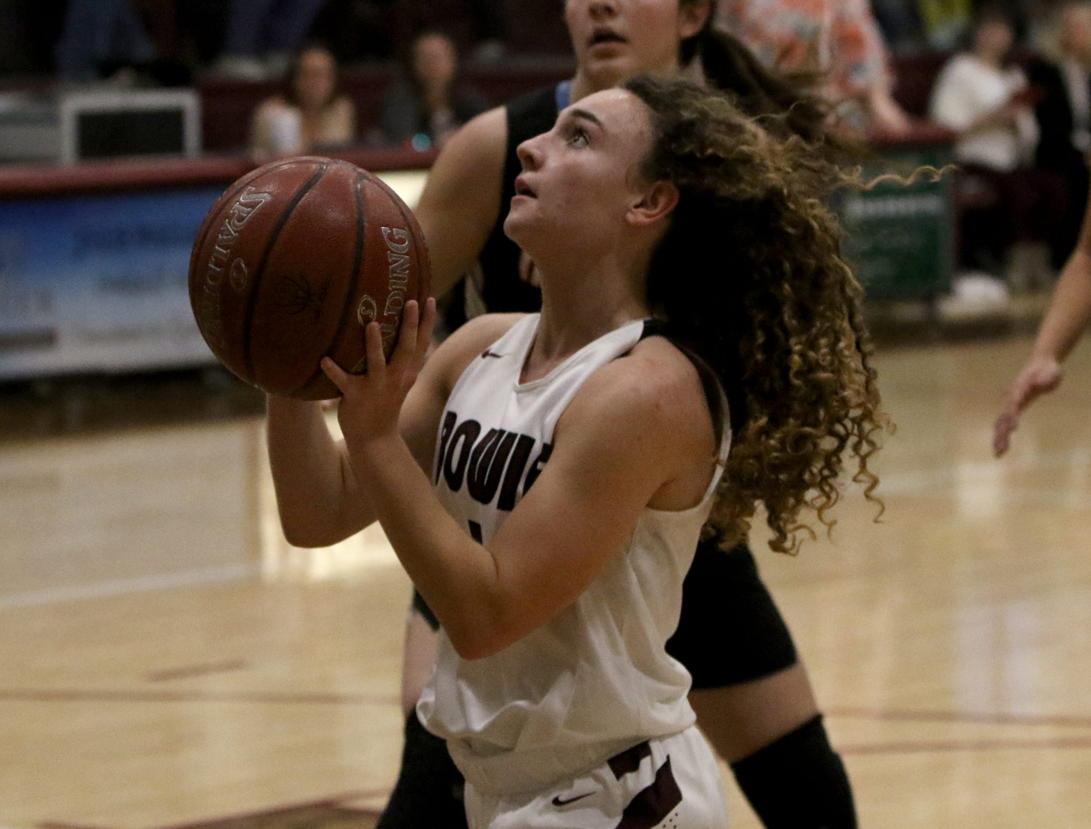Bowie's Brysen Richey looks to the basket against Nocona Tuesday, Feb. 5, 2019, in Bowie. Nocona defeated Bowie 38-34.
