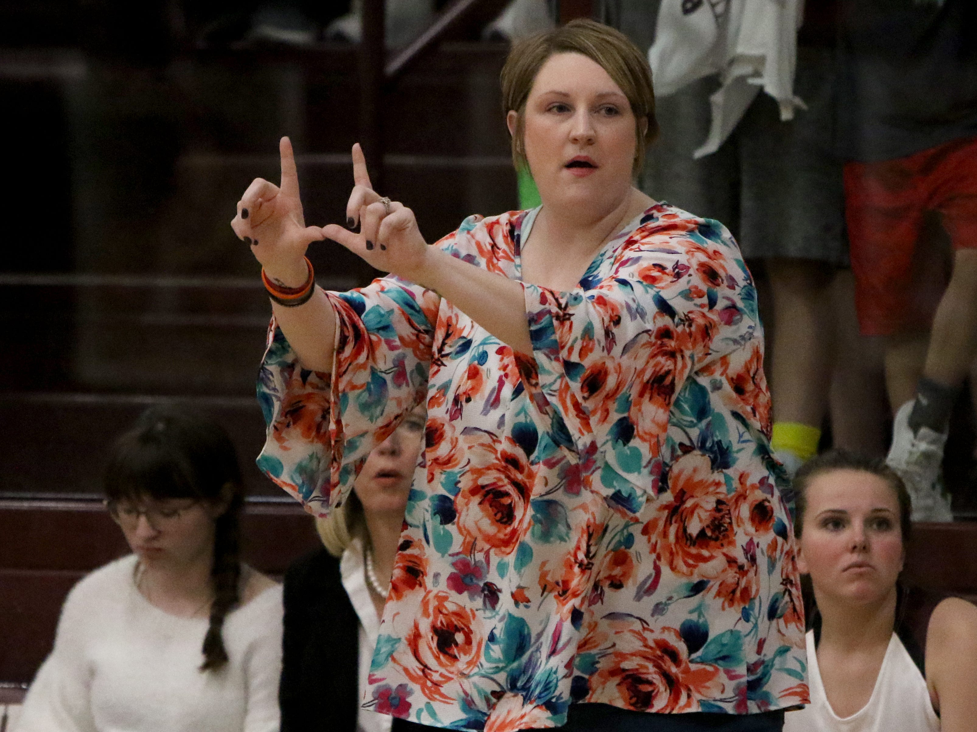 Jamie Hickey coaches the Bowie Lady Rabbits against Nocona  in placed of head coach Chuck Hall Tuesday, Feb. 5, 2019, in Bowie. Nocona defeated Bowie 38-34.
