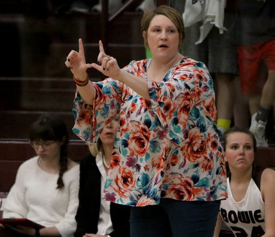 Jaimie Hickey coaches the Bowie Lady Rabbits against Nocona in placed of head coach Chuck Hall Tuesday.