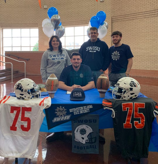 Burkburnett offensive lineman Cooper Duke signed Wednesday to play football at Southwestern Oklahoma State in Weatherford, Okla. Duke helped the Bulldogs average 31 points per game in 2018 as he blocked for his younger brother quarterback Mason.