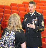 Command Sergeant Major, Steve Laick, a Hirschi High School graduate, visited with students one-on-one to talk to them about career choices and how continued education can improve their lives.