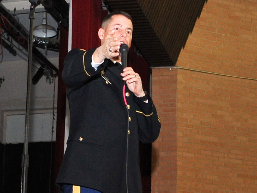 Command Sergeant Major, Steve Laick, a Hirschi High School graduate, spoke to Hirschi junior and senior classes about how important a good education is and how picking the correct career can be life-changing.