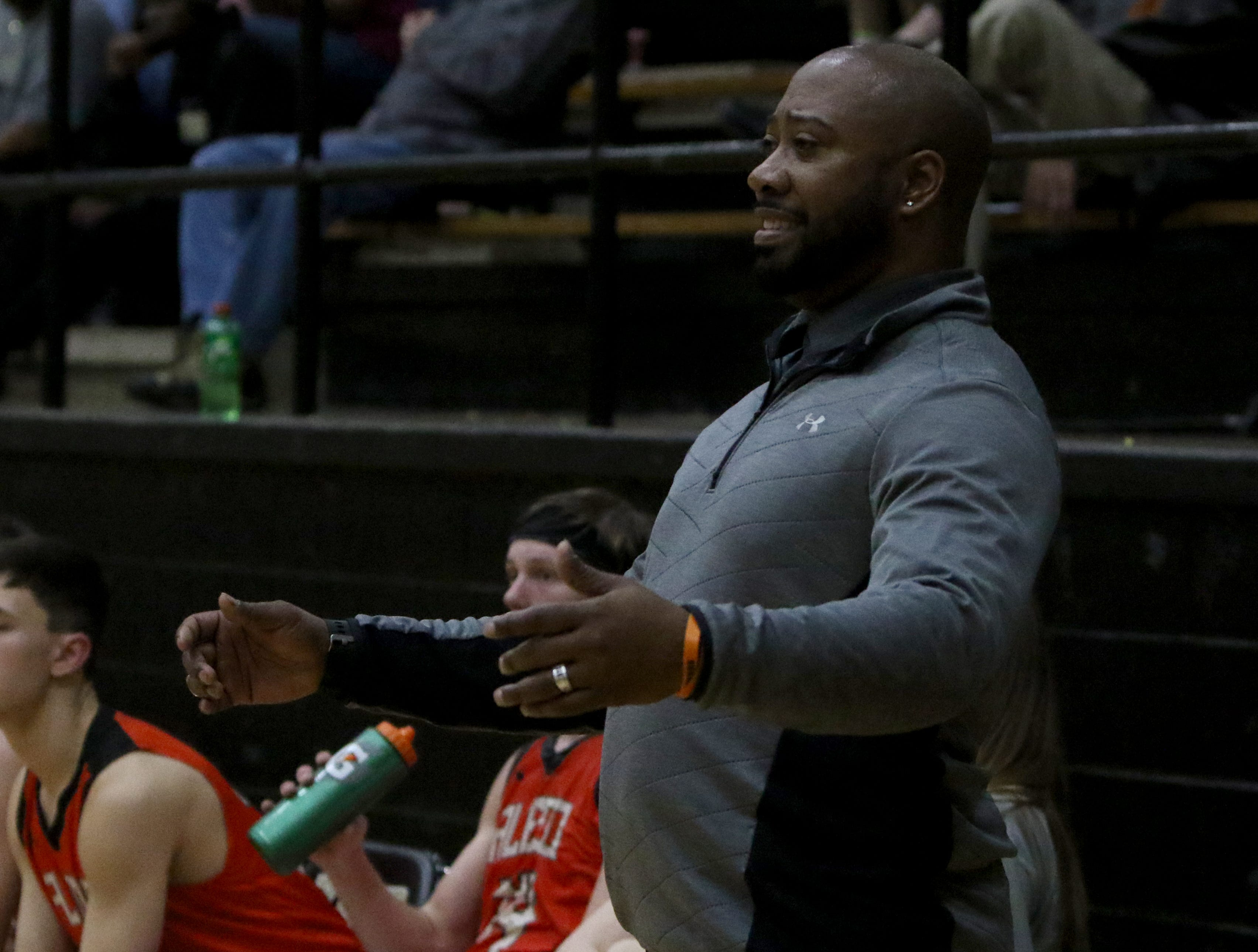 Aledo head basketball coach Fred Jones reacts to a play in the game against Rider Tuesday, Feb. 5, 2019, at Rider. The Raiders defeated the Bearcats 64-51.