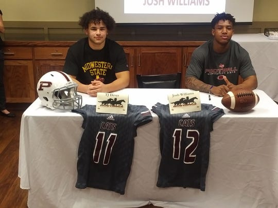 Palestine tight end T.J. Dever (left) and linebacker Josh Williams (right) were two of several high school athletes around the state who signed with Midwestern State on Wednesday.
