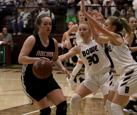 Nocona's Averee Kleinhans dribbles in the game against Bowie Tuesday, Feb. 5, 2019, in Bowie. Nocona defeated Bowie 38-34.