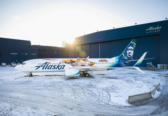 Alaska Airlines has unviled a special-edition Captain Marvel livery for one of its Boeing 737 jets.