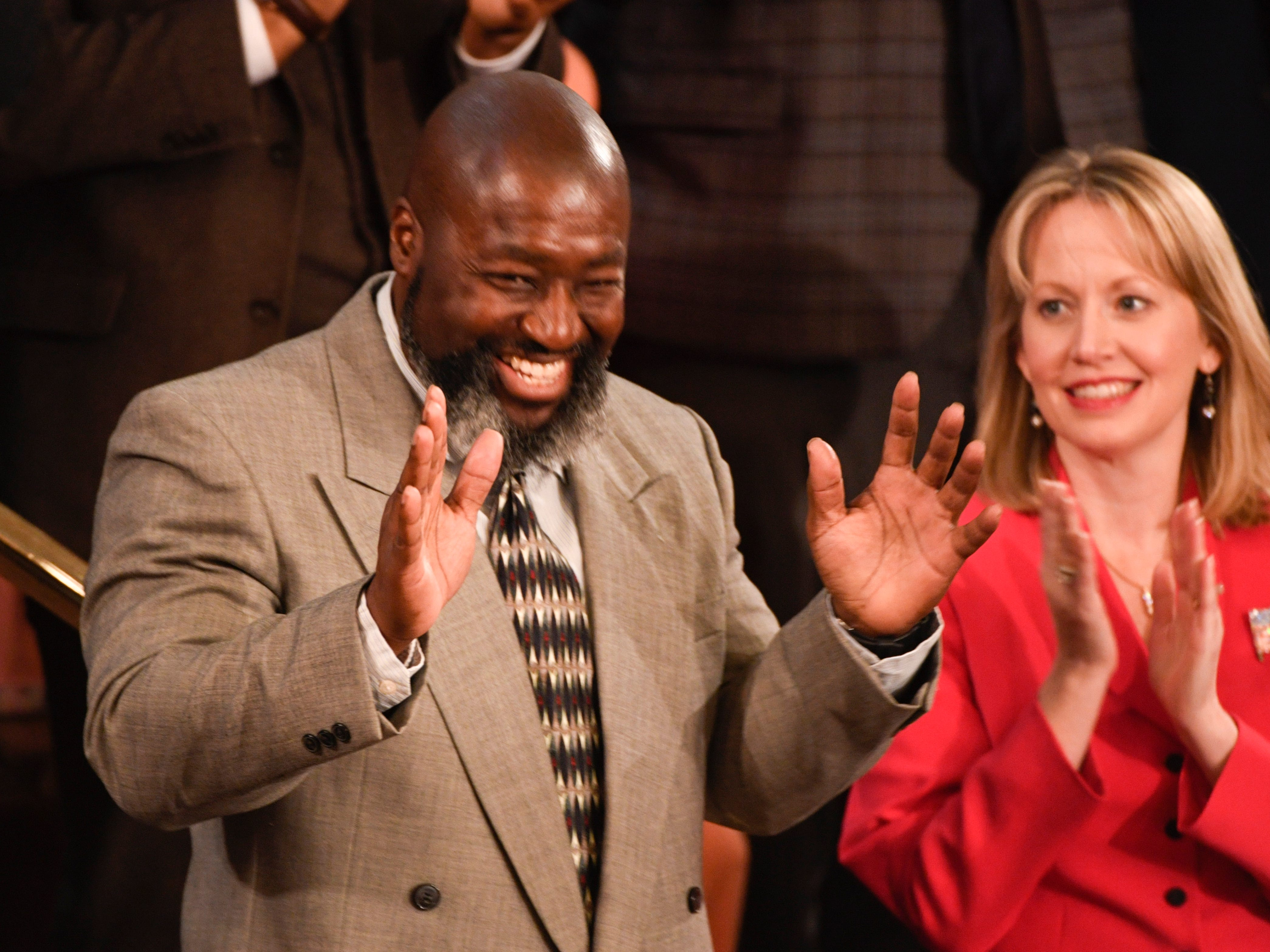 Matthew Charles is recognized by President Donald Trump as he delivers the State of the Union address. Charles was one of the first people released fro prison under the First Step Act.