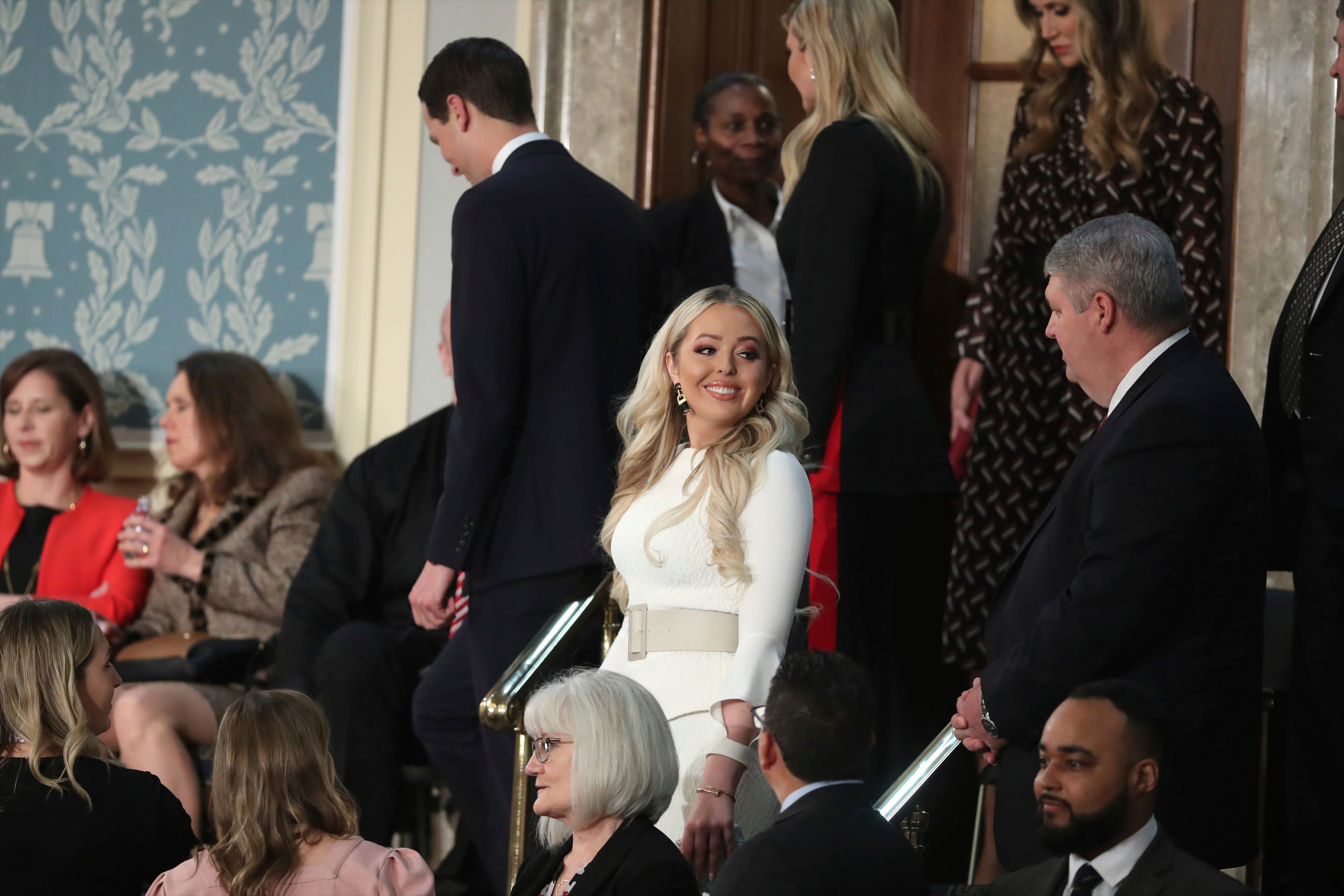Tiffany Trump wears white, the color chosen by Democrats as a political statement, at State of the Union