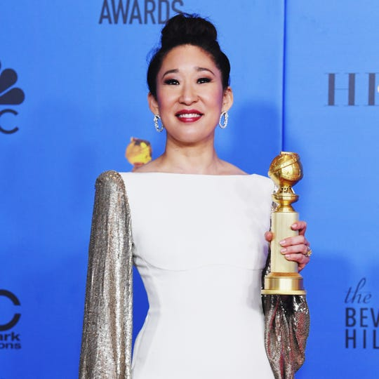 BEVERLY HILLS, CA - JANUARY 06:  Host and Best Performance by an Actress in a Television Series Drama 'for Killing Eve' winner Sandra Oh poses in the press room during the 76th Annual Golden Globe Awards at The Beverly Hilton Hotel on January 6, 2019 in Beverly Hills, California.  (Photo by Kevin Winter/Getty Images) ORG XMIT: 775277757 ORIG FILE ID: 1078647420