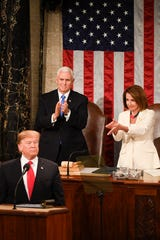 House Speaker Nancy Pelosi and Vice President Mike Pence clap for President Donald Trump, Washington, DC, Feb. 5, 2019
