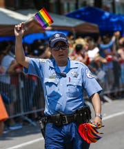 A Chicago Police officer participates in the 2015 Chicago Pride Parade in Chicago, Illinois.