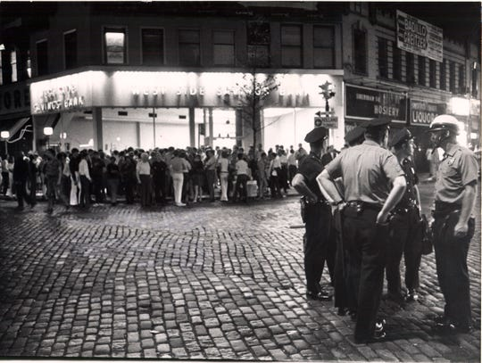 Police try to clear crowds at a disturbance on Sheridan Square near the Stonewall Inn on July 2, 1969, four days after a police raid.