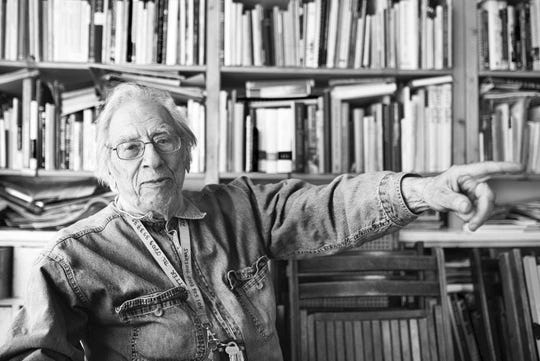 """This undated handout photo shows Izzy Young in Sweden. Izzy Young, who in 1961 organized the first New York concert by Bob Dylan and devoted decades of his life supporting folk music, has died at age 90 in Sweden it was announced Wednesday, Feb. 6, 2019. Young was a big name in folk music _ Dylan, a regular visitor at his New York music shop, the Folklore Center, once called it """"the citadel of Americana folk music."""" Young moved to Sweden in 1973 and reopened his store there. (Markus Adler via AP) ORG XMIT: LLT804"""