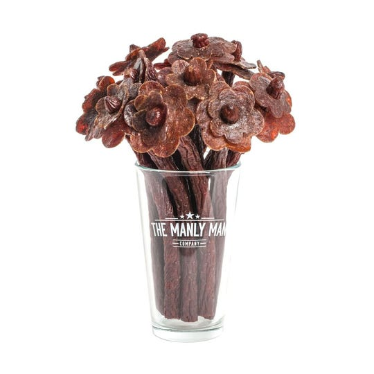 The Manly Man Company's Beef Jerky Flower Bouquet is a popular Valentine's Day gift.