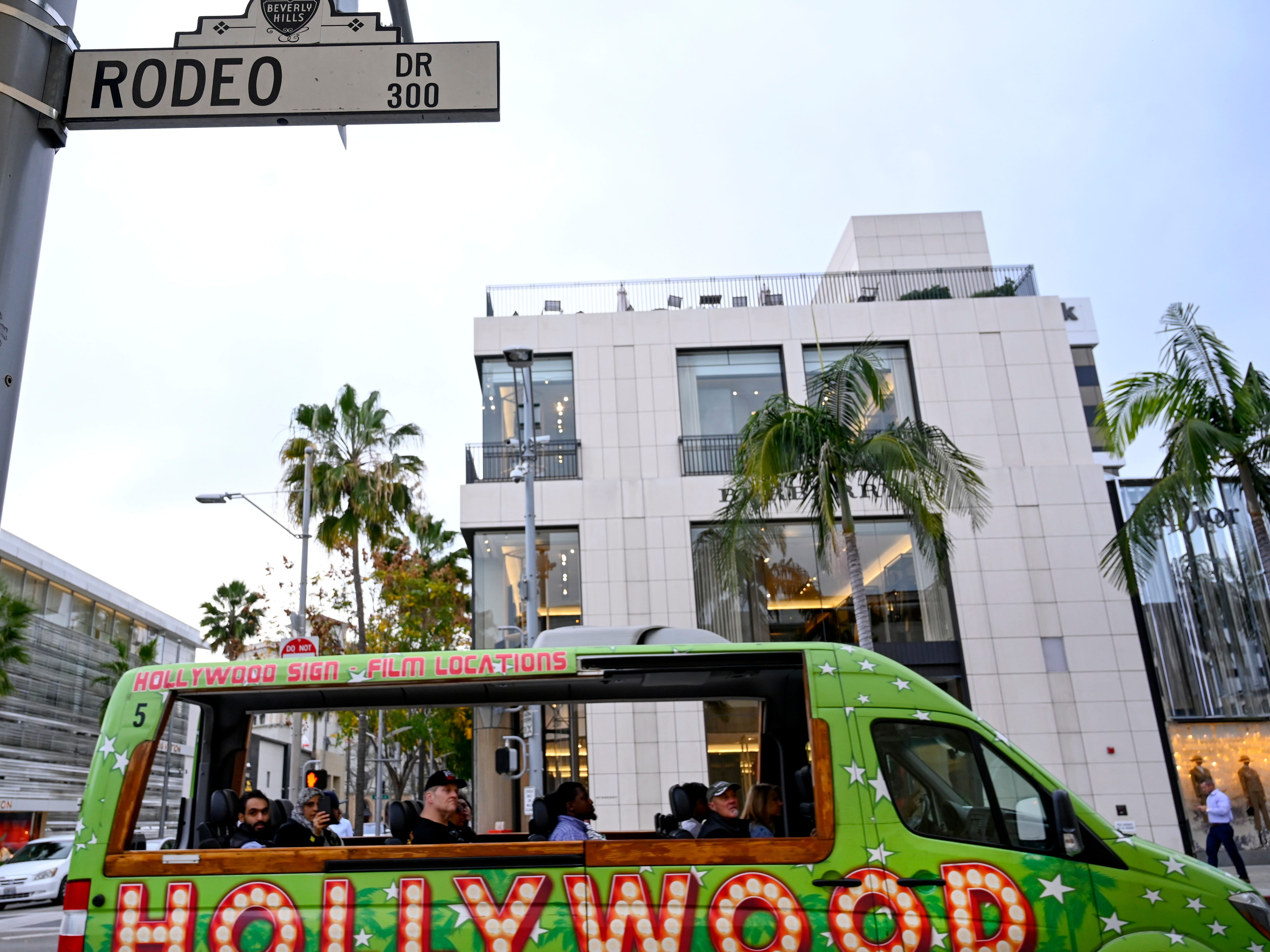 A tour bus makes its way down Rodeo Drive, Jan. 29, 2019. The Golden Triangle, as the district is called, has transformed into a must-see stop-off for out-of-towners, right along with the stars' handprints at Hollywood's TCL Chinese Theatre or the street performances at Venice Beach.