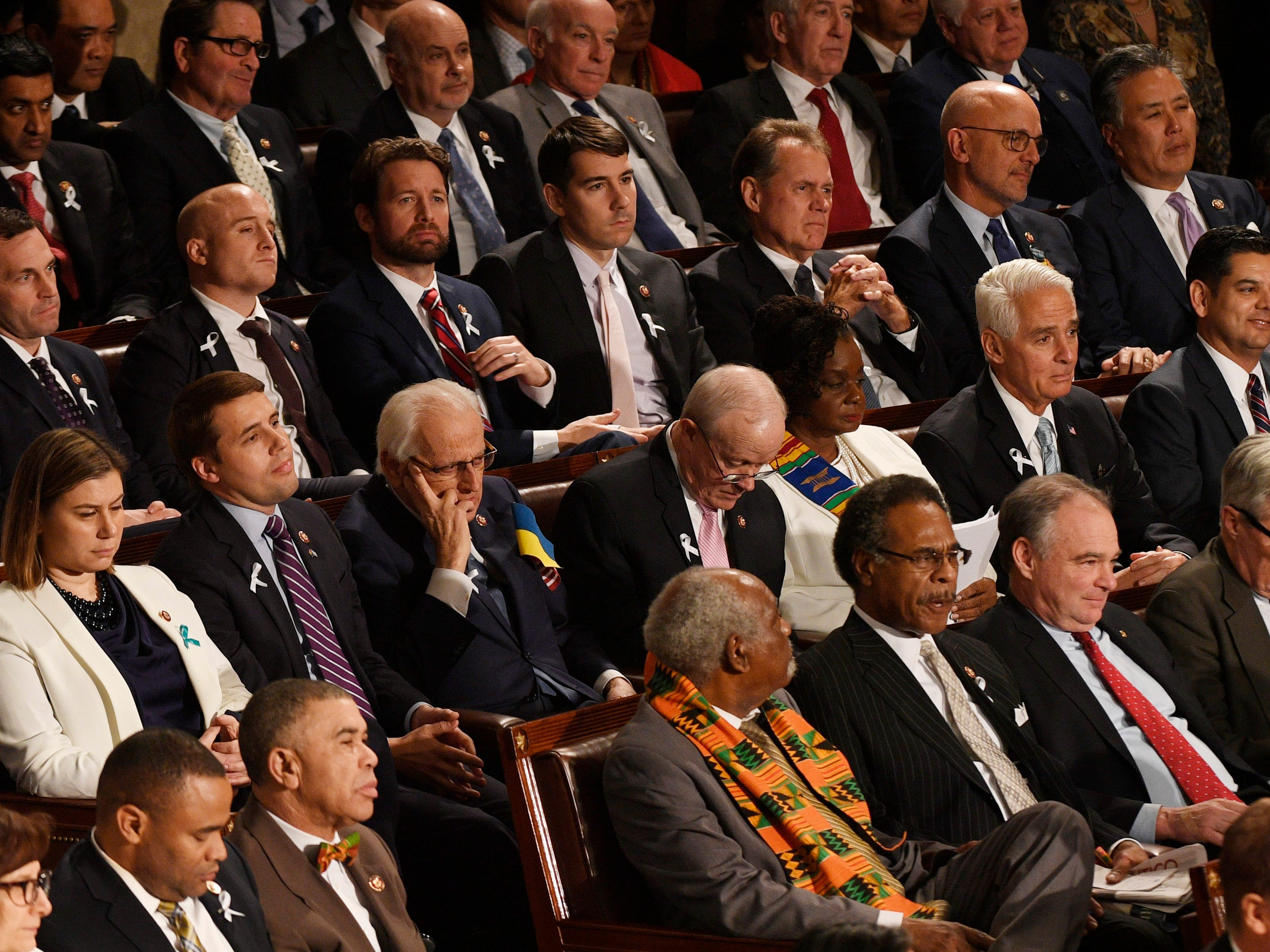 Members of Congress listen as President Donald Trump delivers the State of the Union address.