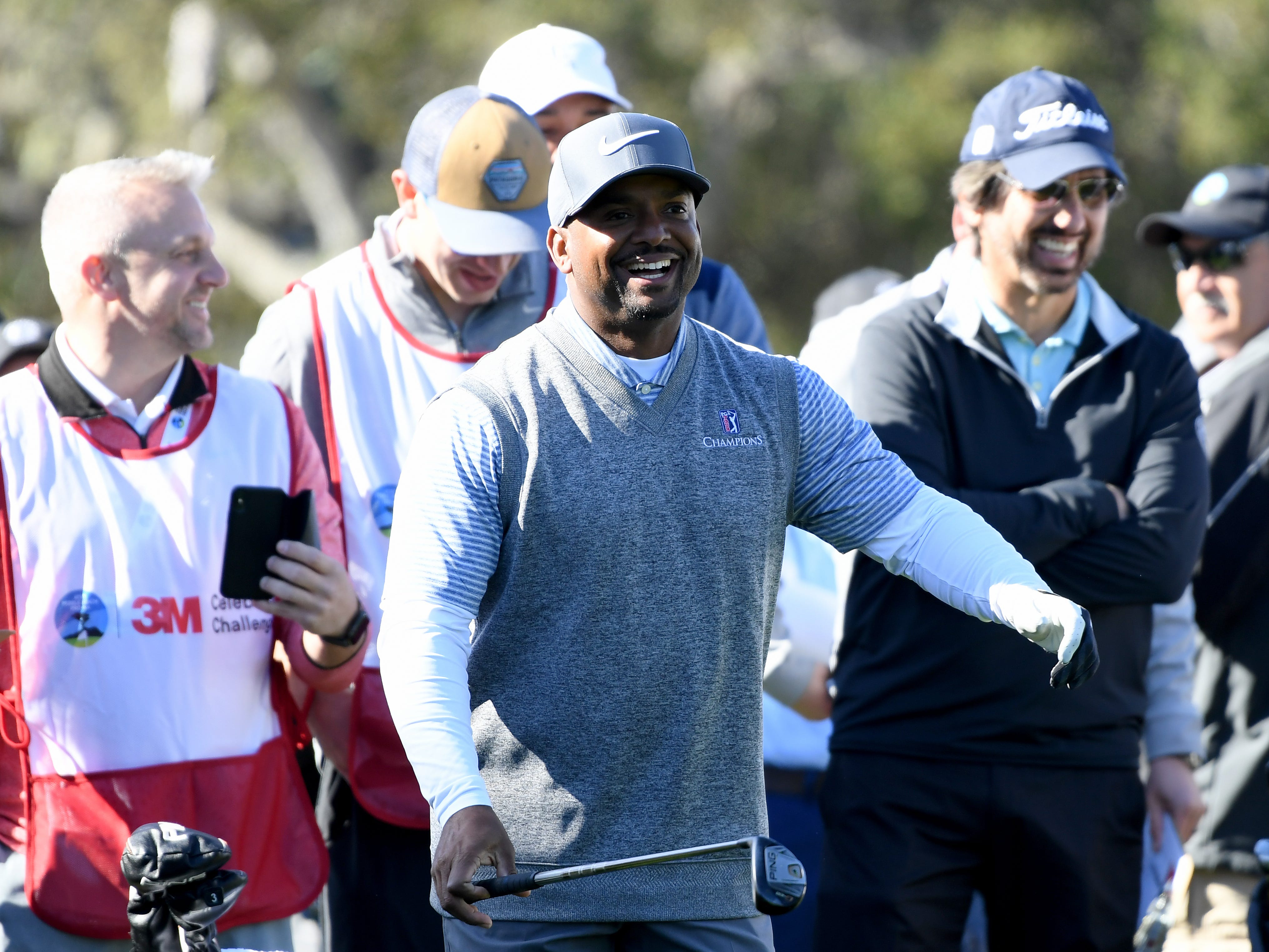 Alfonso Ribeiro laughs on the first tee during the 3M Celebrity Challenge at the AT&T Pebble Beach Pro-Am.