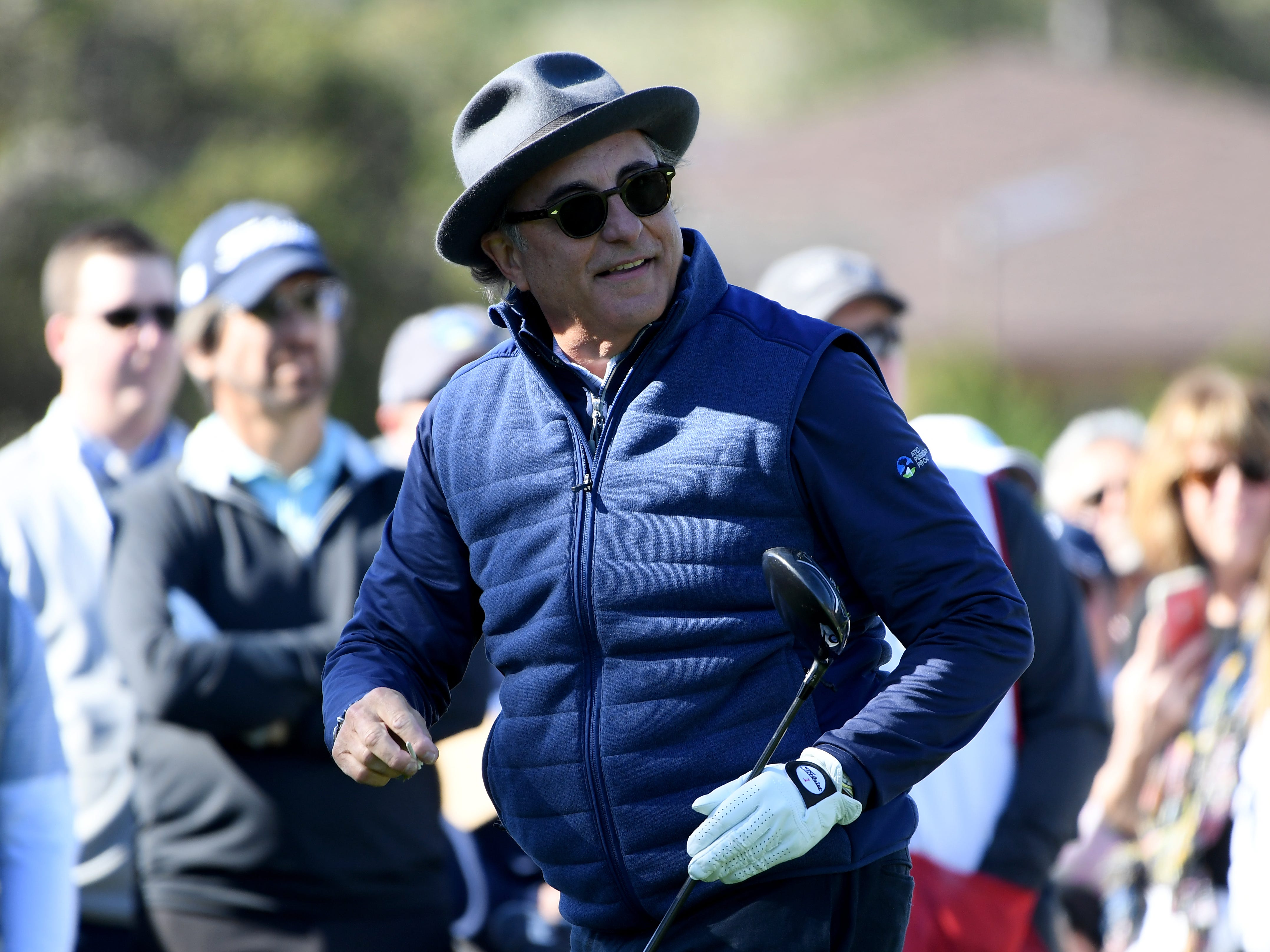Andy Garcia reacts to his shot on the first tee during the 3M Celebrity Challenge at the AT&T Pebble Beach Pro-Am.