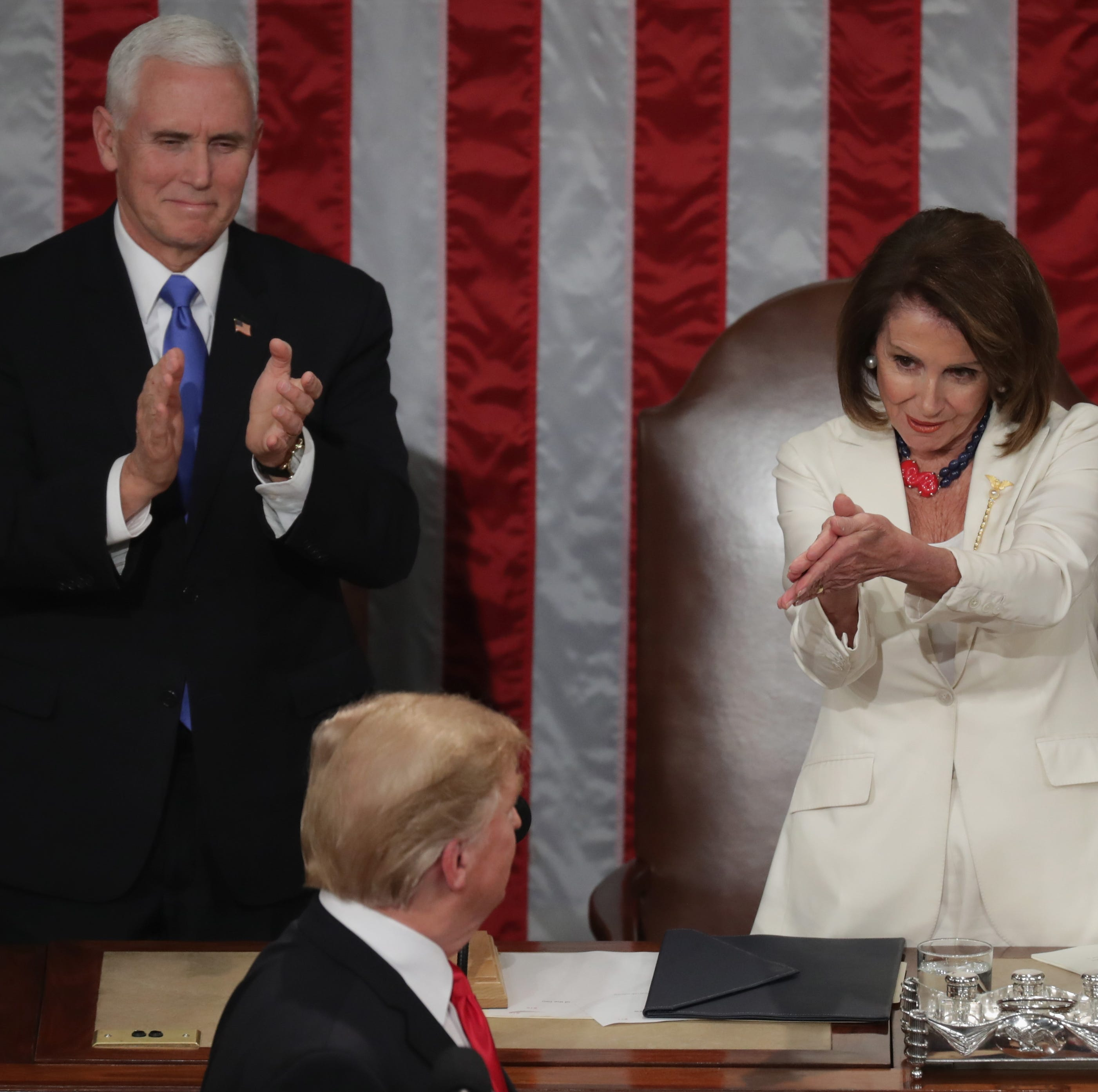 Speaker Nancy Pelosi and Vice President Mike Pence applaud President Donald Trump at the State of the Union address in the chamber of the U.S. House of Representatives at the U.S. Capitol Building on Feb. 5, 2019, in Washington, D.C.