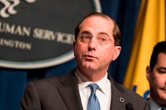 Health and Human Services Secretary Alex Azar, shown here in December 2018, says the Trump administration has finalized regulations that will require drug companies to disclose on TV commercials the prices of medications costing more than $35 for a month's supply.