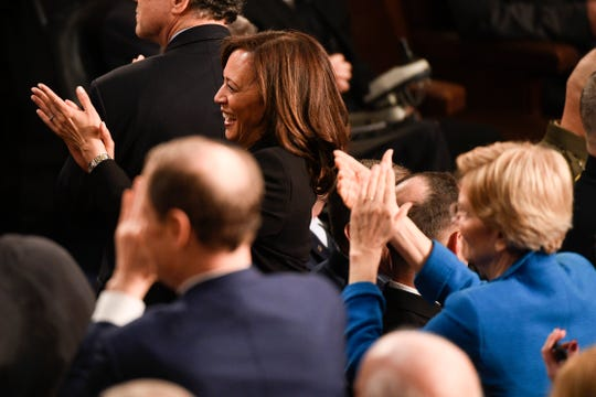 Sen. Kamala Harris, D-Calif., and Sen. Elizabeth Warren, D-Mass., applaud as President Donald Trump recognizes newly elected congresswomen during his State of the Union address in the U.S.  Capitol in Washington, D.C., Feb. 5, 2019.