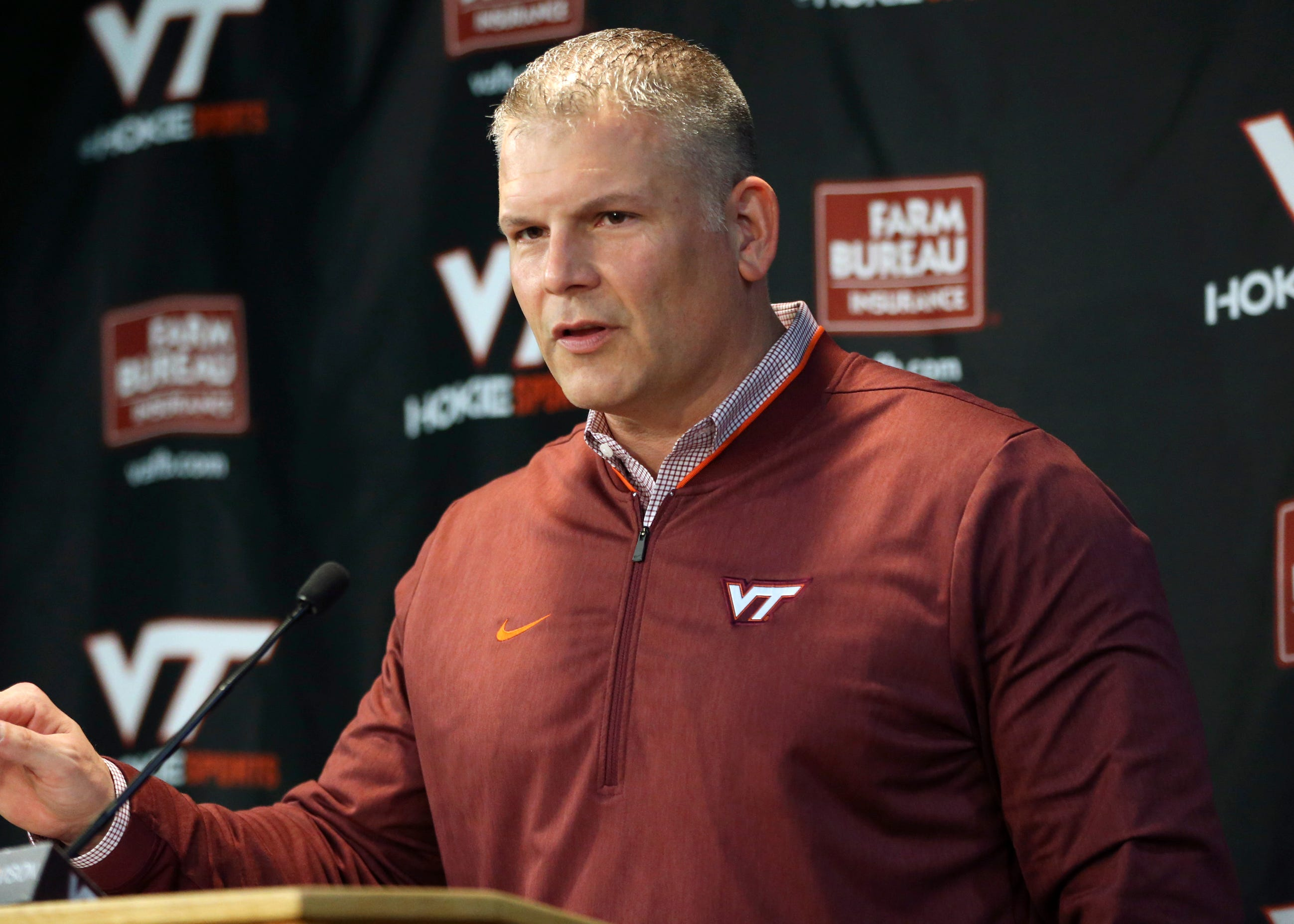 Virginia Tech coach Justin Fuente talks about his incoming recruiting class during a press conference on signing day on Feb. 6, 2019.