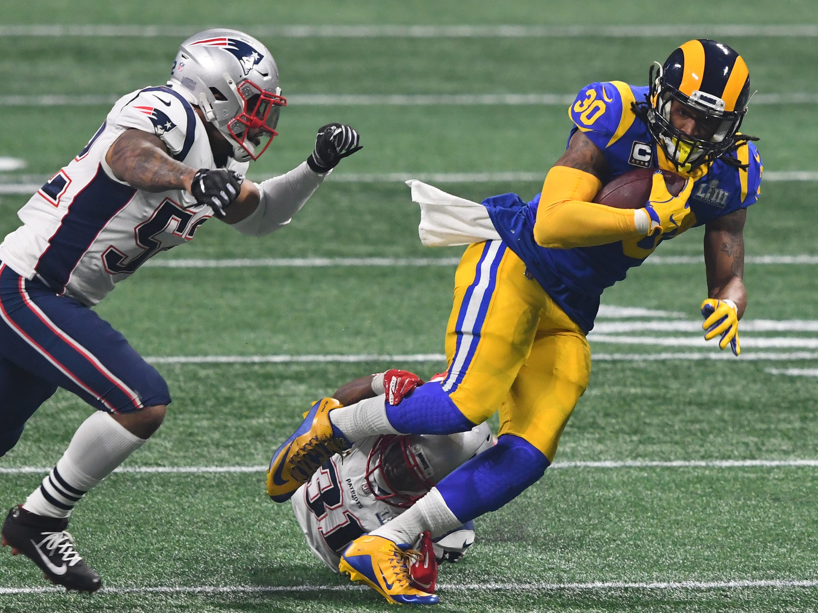 4. Rams (3): Great season. But Super Bowl flop, Todd Gurley mystery, Jared Goff's postseason struggles, non-call in New Orleans deservedly knock them down.