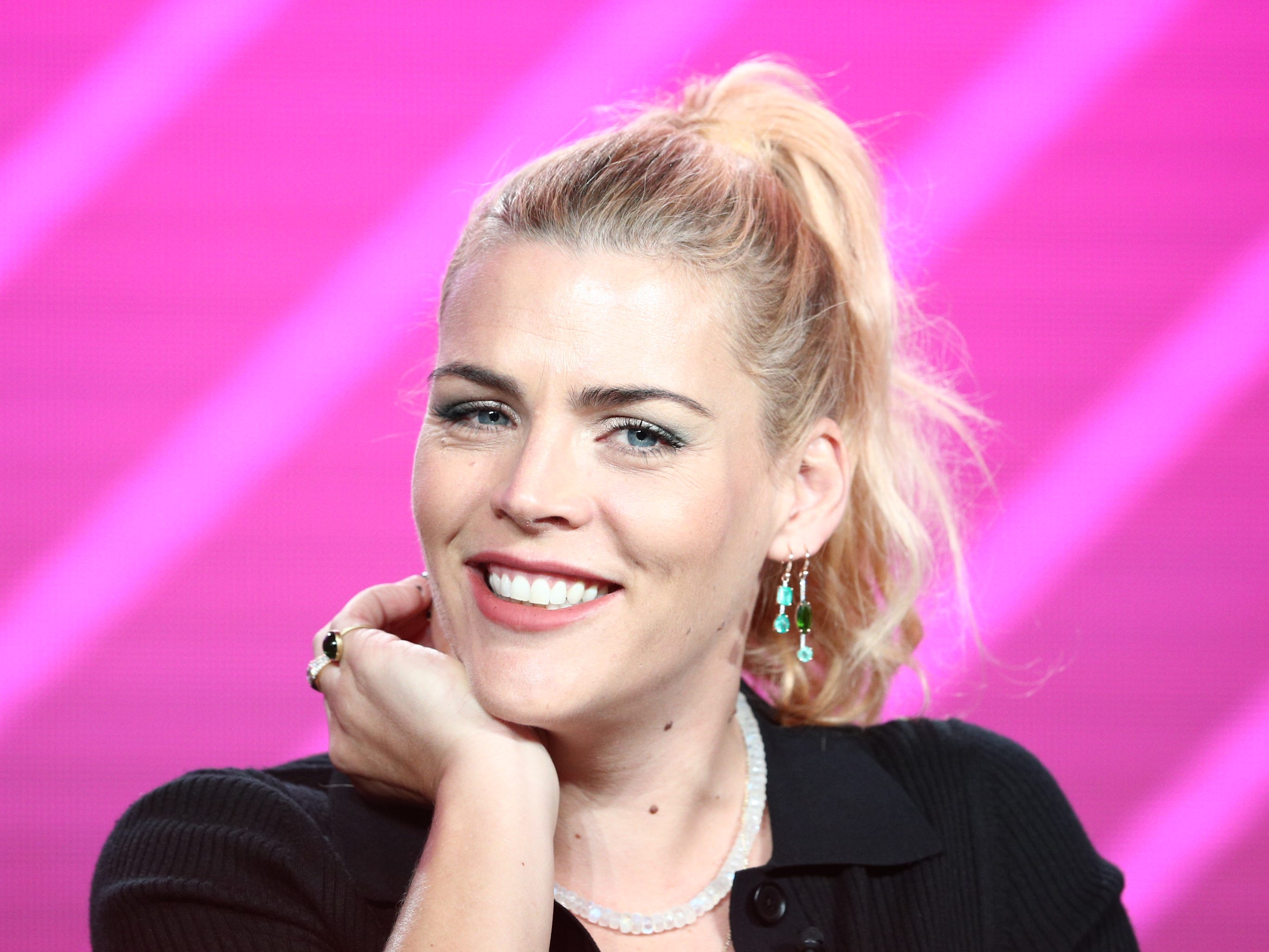 "PASADENA, CALIFORNIA - JANUARY 29: Busy Philipps speaks on the ""Busy Tonight"" panel during the NBCUniversal portion of the Television Critics Association Winter Press Tour at The Langham Huntington, Pasadena on January 29, 2019 in Pasadena, California. (Photo by Frederick M. Brown/Getty Images) ORG XMIT: 775283183 ORIG FILE ID: 1126008800"