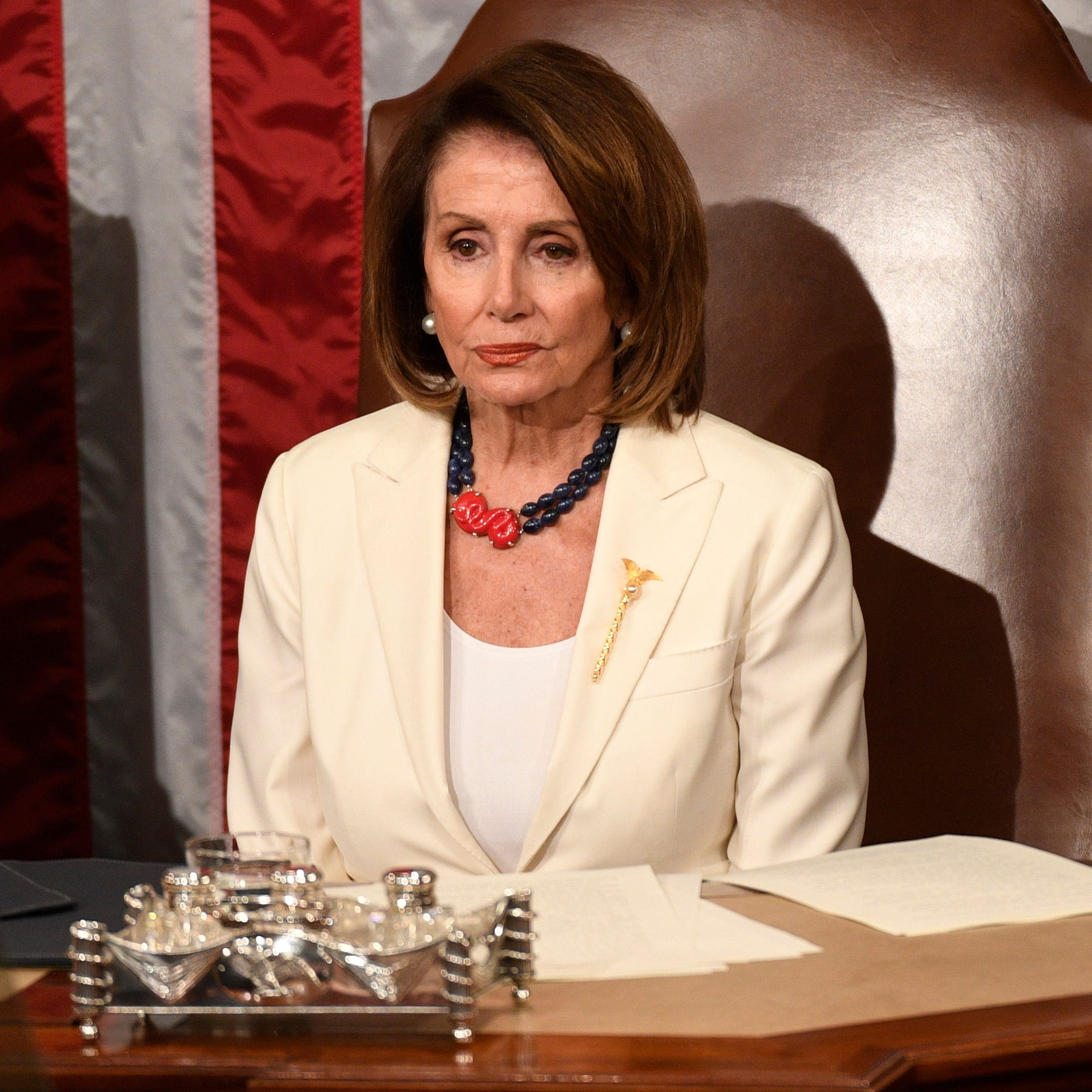 Speaker of the House Nancy Pelosi (D-Calif.) listens as President Donald Trump delivers the State of the Union address.