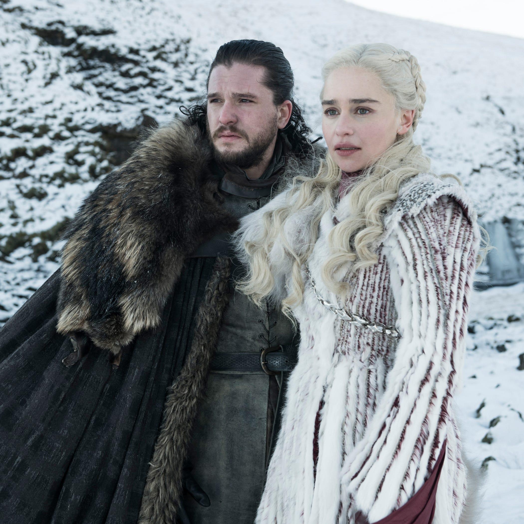 "Kit Harington as Jon Snow and Emilia Clarke as Daenerys on ""Game of Thrones."""