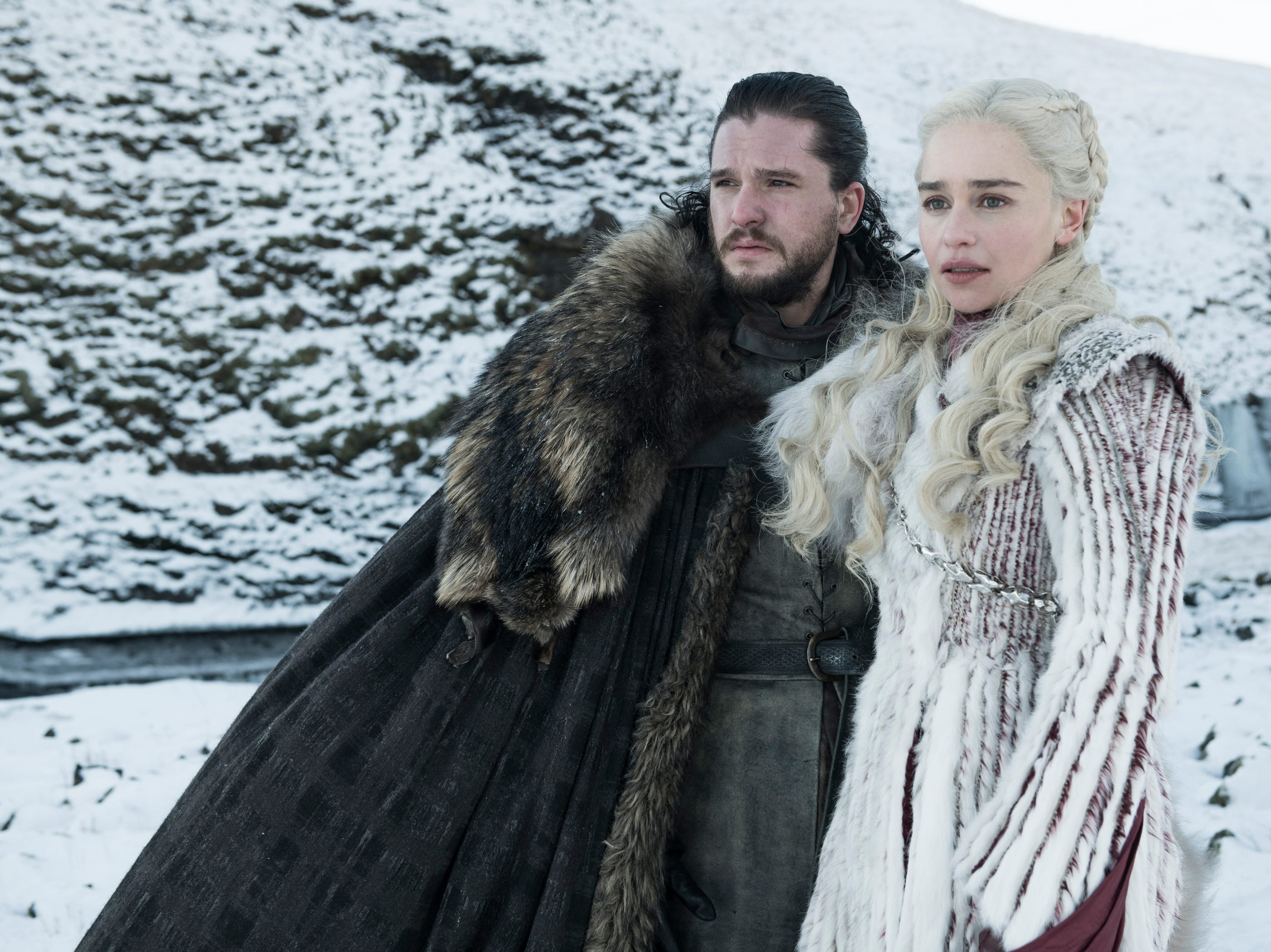 "Kit Harington as Jon Snow and Emilia Clarke as Daenerys on ""Game of Thrones."""