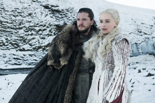 Kit Harington as Jon Snow and Emilia Clarke as Daenerys on