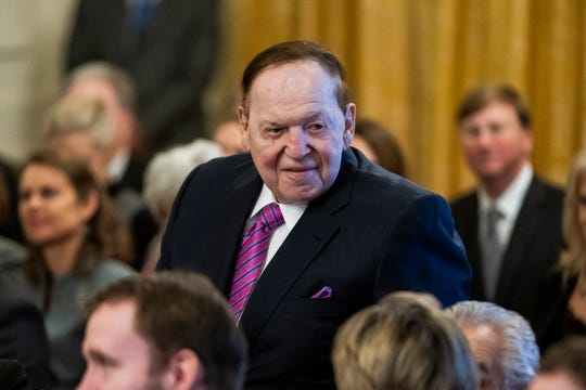Sheldon Adelson in the White House on Nov. 16, 2018.