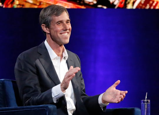 "Former Democratic Texas congressman Beto O'Rourke laughs as with Oprah Winfrey presses him to make the announcement that he is running for president during a live interview on a Times Square stage at ""Oprah's SuperSoul Conversations from Times Square,"" Tuesday, Feb. 5, 2019, in New York. O'Rourke dazzled Democrats in 2018 by nearly defeating Republican Sen. Ted Cruz in the country's largest red state. O'Rourke says he'll announce whether he'll run for president ""before the end of the month."" (AP Photo/Kathy Willens) ORG XMIT: NYKW114"