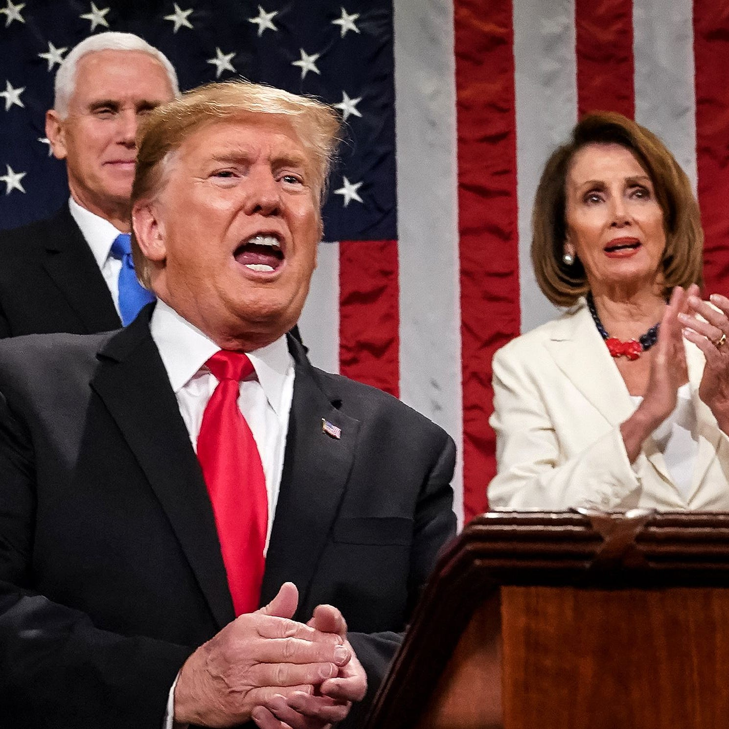 President Donald Trump delivers the State of the Union address at the US Capitol.