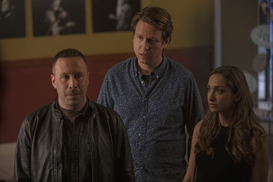 """Jason (Dov Davidoff, left) butts heads with Pete (Pete Holmes) and Ally (Jamie Lee) while on the road together in Sunday's new episode of """"Crashing."""""""