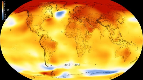 This map shows where global  temperatures were either above or below-average in 2018. Higher than average temperatures are in red and colder than average temperatures in blue.