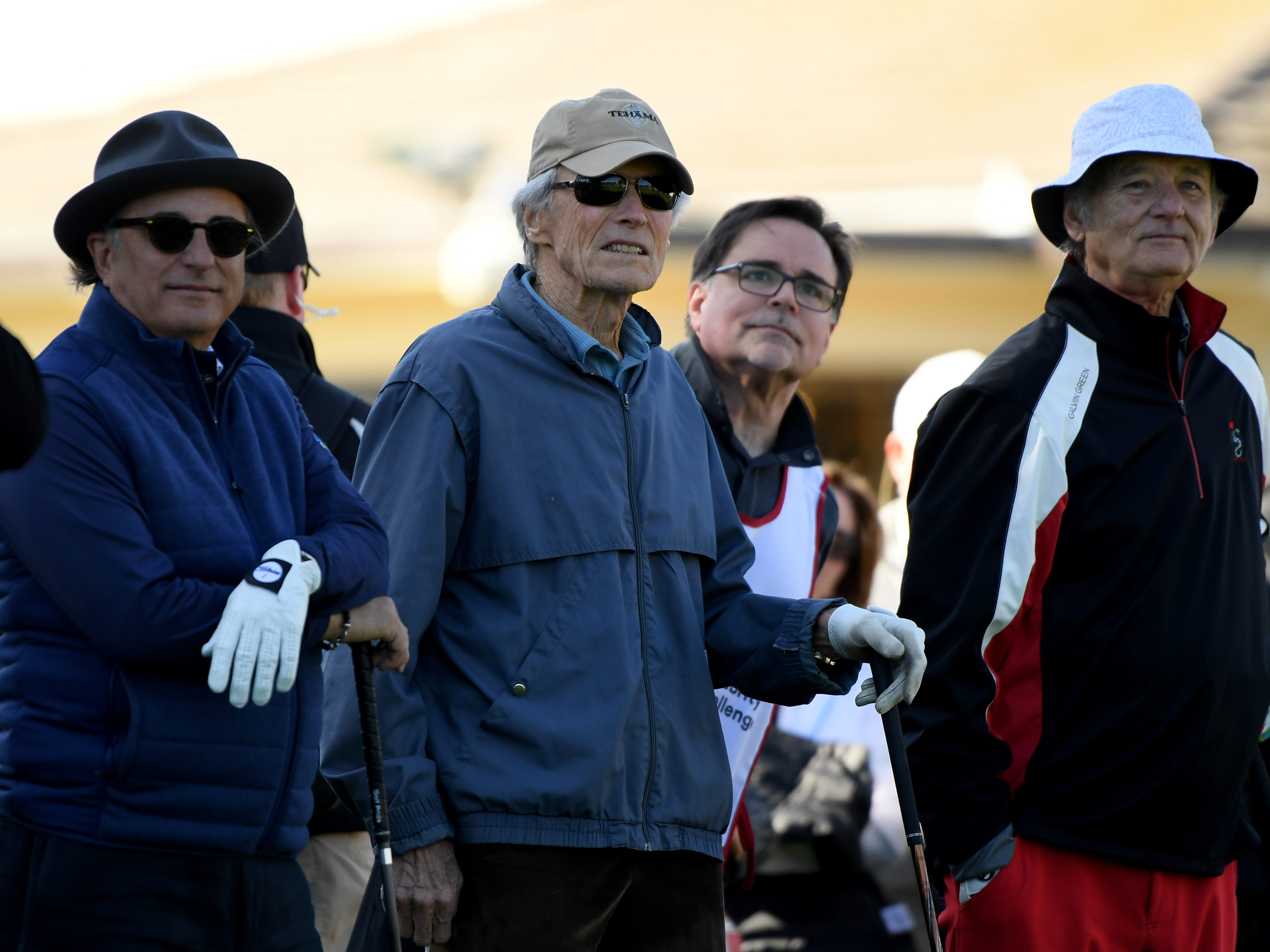 Andy Garcia, Clint Eastwood and Bill Murray look off the first tee during the 3M Celebrity Challenge at the AT&T Pebble Beach Pro-Am.