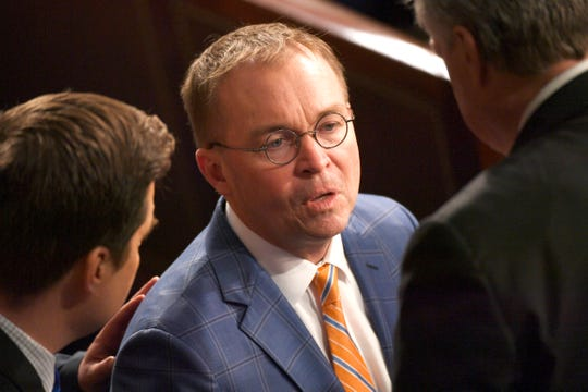 Mick Mulvaney, Director of the Office of Management and Budget, enters the chamber before President Donald Trump delivers the State of the Union address.