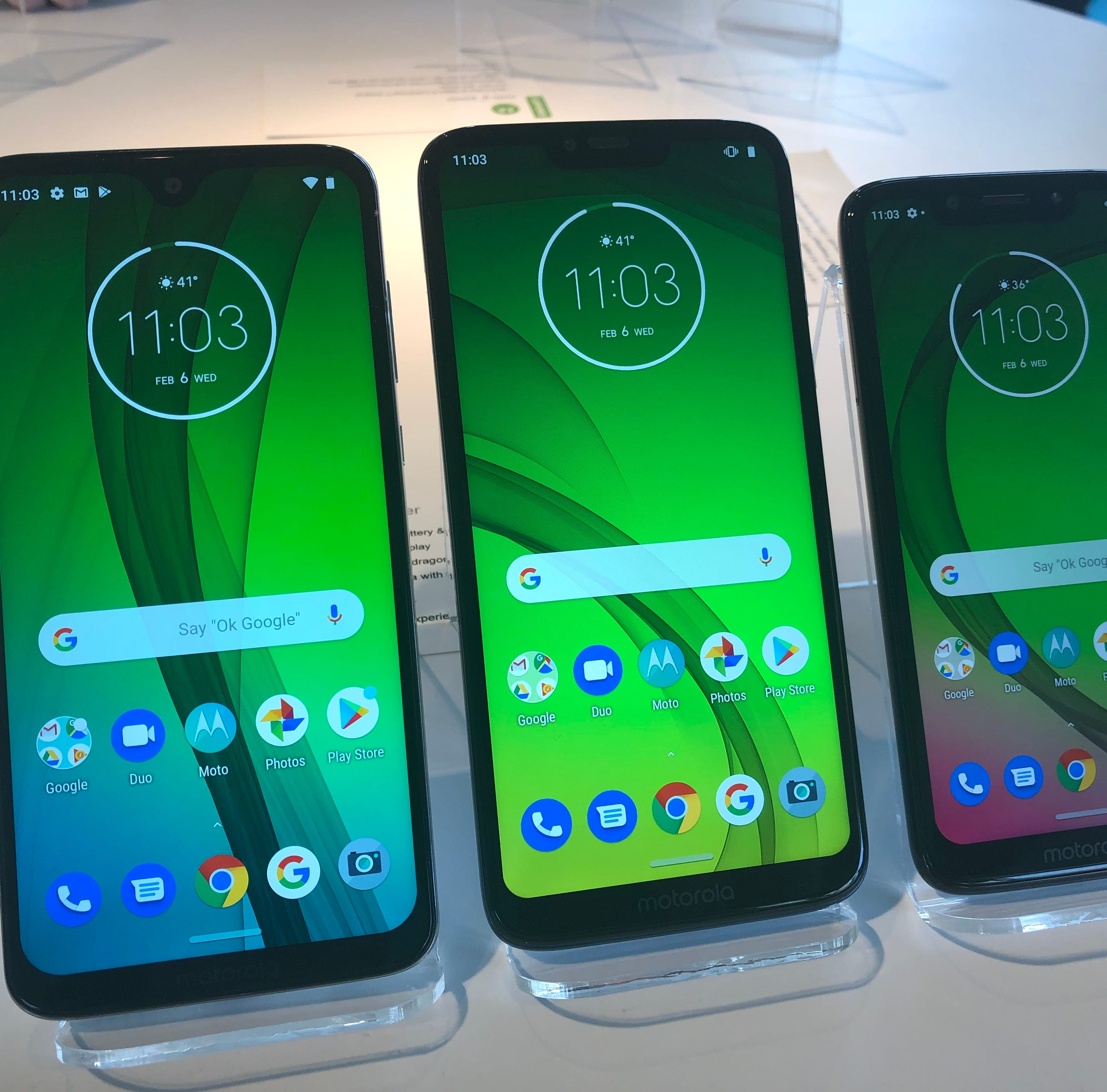 The Moto G7, G7 Power and G7 Play.