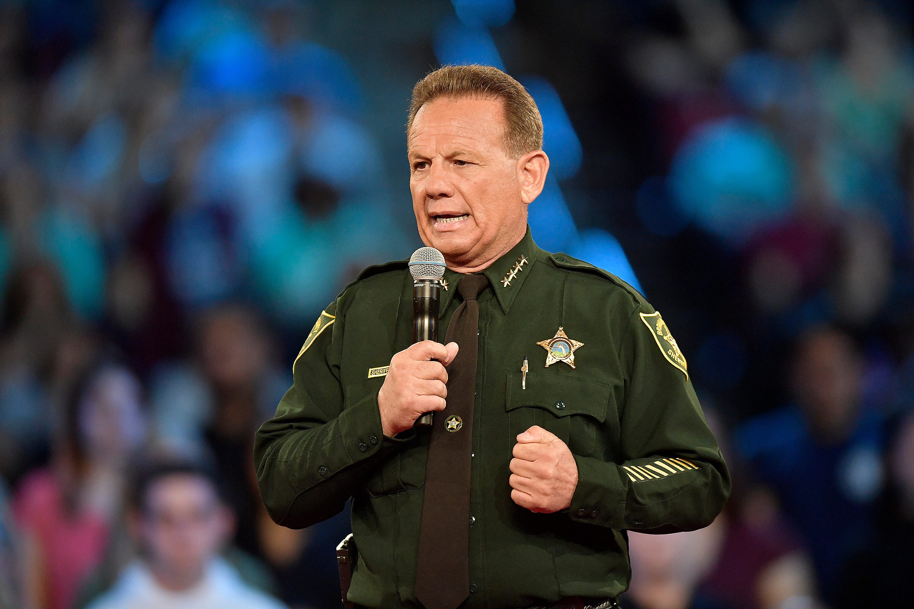 Broward County Sheriff Scott Israel speaks before a CNN town hall broadcast, on Feb. 21, 2018, at the BB&T Center, in Sunrise, Fla.