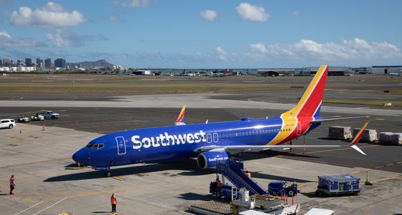 A Southwest Airlines jet is seen in Hawaii for the first time ever on Feb. 5, 2018, after the Boeing 737-800 landed in Honolulu as part of the carrier's authorization process with the FAA to offer future scheduled service to the state.