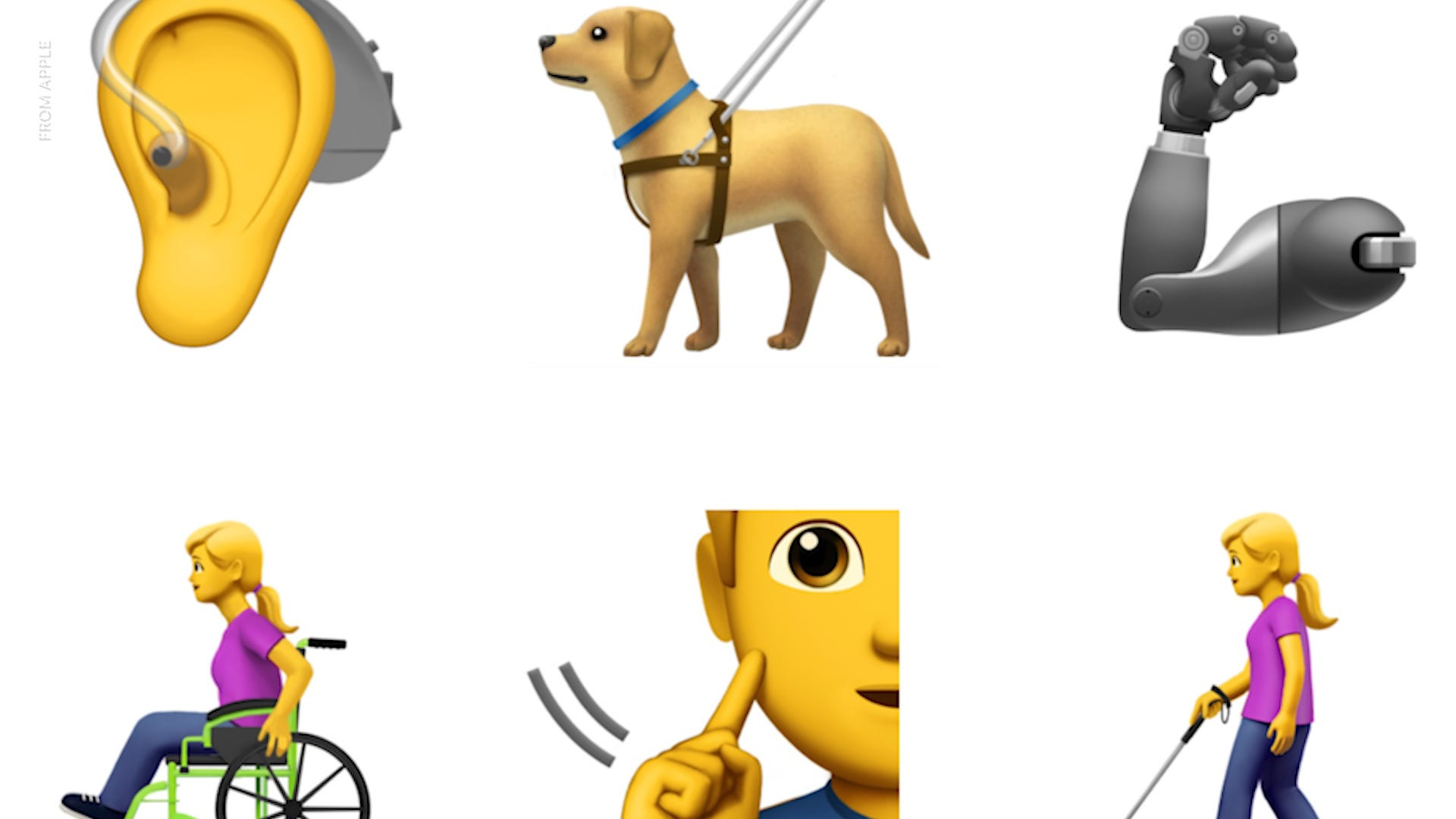 New emojis include hearing impaired, service dogs