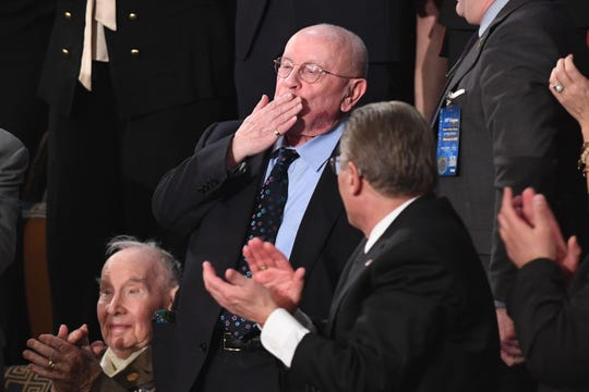 Special guest Judah Samet, a survivor of the Tree of Life Synagogue, blows a kiss as he is acknowledged during the State of the Union address at the US Capitol in Washington, DC, on February 5, 2019.
