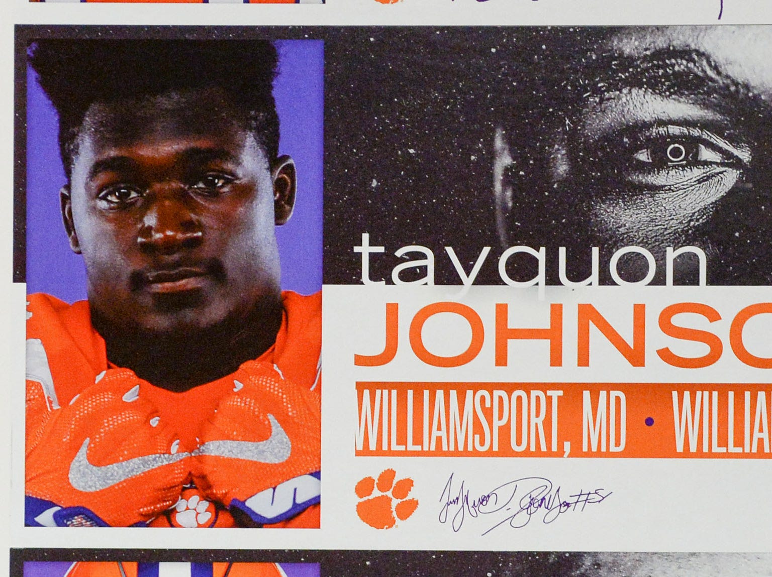 A photo of Tayqouo Johnson, a defensive lineman from Williamsport, Maryland, is displayed in the team meeting room for a National Letter of Intent signing day press conference in Clemson Wednesday, February 6, 2019.