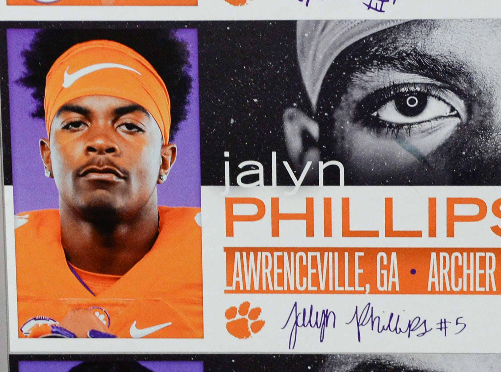 A photo of Jalyn Phillips, a defensive back from Lawrenceville, Georgia, is displayed in the team meeting room for a National Letter of Intent signing day press conference in Clemson Wednesday, February 6, 2019.